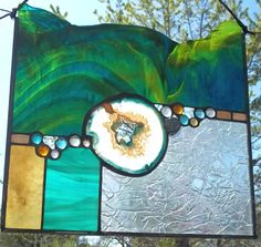 "Large Geode Stained Glass Window Panel - ""Turquoise Crystal"""