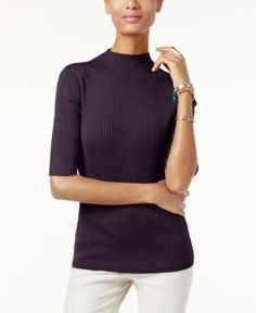 Inc International Concepts Mock-Neck Ribbed Sweater, Only at Macy's - Purple S