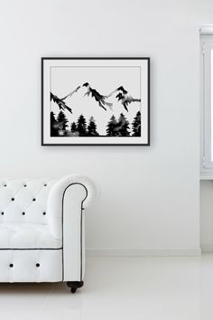 Large Hand Painted Watercolor . Forest Mountain Painting . Wilderness Art . Black White Artwork . Modern . by GeometricInk on Etsy https://www.etsy.com/listing/163492736/large-hand-painted-watercolor-forest
