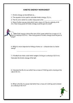 Potential And Kinetic Energy Worksheet Answers: | Projects to Try ...