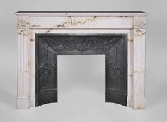 Antique Louis XVI style fireplace in Paonazzo marble with flutings decor (Reference 3321) - Available  at Galerie Marc Maison #fireplace #antique #19thcentury #paonazzo #marble #saintouen #fleamarket