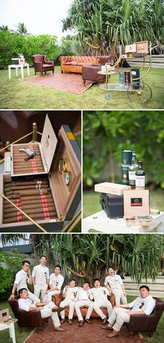 Cigar bar/lounge - fun way for groom and groomsmen to relax at a wedding // Plush Phuket Wedding Which Ended in an Explosion of Fireworks: Aston and Victoria