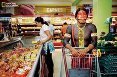 Photograph by Martin Schoeller Kayapo who live near border towns supplement their subsistence diet with trips to the supermarket, like this one in Tucumã. Martin Schoeller, J Pop, National Geographic, Xingu, Indigenous Tribes, Amazon River, A Moment In Time, People Shopping, Second World