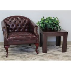 Charlton Home® Oshea Lounge Chair & Reviews | Wayfair Brown Leather Armchair, Leather Sofa, Tufted Chair, Lounge, School Furniture, Chair Backs, Club Chairs, Arm Chairs, Tufting Buttons