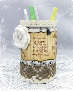 decorate your tins with paper and stamps