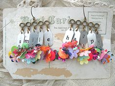 earrings word tag assemblage flower sequin smile by lilyofthevally