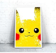 """Pikachu Poster - 11"""" x 17"""" Paint Splatter Poster - Pokemon Pocket Monster Inspired"""