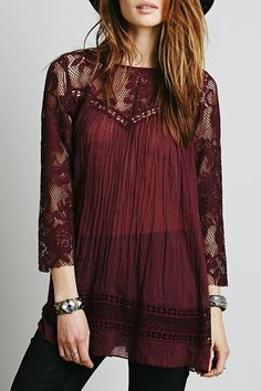 Looks I LOVE! Wine red Lace Spliced Scoop Neck 3/4 Sleeve Sheer Lace louse #Wine #Red #Bohemian #Style #Sheer #Lace #Blouse #Fall #Fashion #Color #Trends