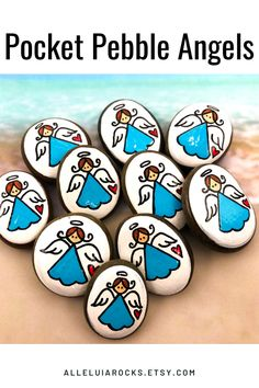 This is a set of 10 painted pebbles that you can hand out to friends, family, and even strangers! Share the love! #pocketangels #paintedrocks #rockpainting #alleluiarocks Perfect Strangers, Minis, Mini Angel, Hand Painted Rocks, Painted Pebbles, Painted Stones, Pebble Painting, Rock Painting, First Communion Favors