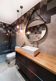 Bath-sleek, multiple materials of tile, wood, great hanging mirror above contemporary sick Fremantle 2 Residence   Eco Habit Homes