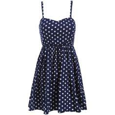 Spaghetti Strap Polka Dot Pleated Dress ($17) ❤ liked on Polyvore featuring dresses, vestidos, blue, vestidos curtos, navy, short dresses, short blue dresses, blue sleeveless dress, navy blue dress and navy sleeveless dress