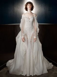 Galia Lahav spring 2018 bride long bishop sleeves off the shoulder sweetheart ., Galia Lahav spring 2018 bride long bishop sleeves off the shoulder sweetheart neckline heavily decorated bodice vintage fit and flare wedding dress a . Pretty Dresses, Beautiful Dresses, Bridal Dresses, Wedding Gowns, Wedding Hijab, Couture Dresses Gowns, Wedding Makeup, Fit And Flare Wedding Dress, Weird Wedding Dress