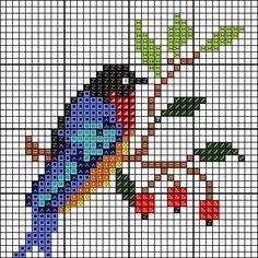 Cross Stitch Bookmarks, Cross Stitch Bird, Cross Stitch Flowers, Cross Stitch Charts, Cross Stitch Designs, Cross Stitching, Cross Stitch Embroidery, Cross Stitch Patterns, Perler Bead Emoji