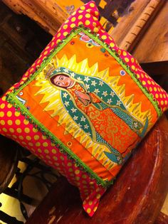 Colorful #Mexican #pillow de la Virgen de Guadalupe