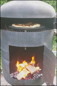 Enjoy freshly baked homemade pizza with a propane tank turned pizza oven!
