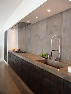 26 Top Modern Sink Design Ideas For Your Kitchen - Page 19 of 28 Rustic Kitchen Cabinets, Refacing Kitchen Cabinets, Skandi Kitchen, Modern Cabinets, Kitchen Decor, Cement Countertops, Kitchen Countertops, Sink Design, Küchen Design