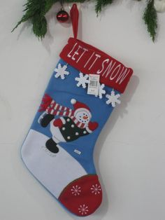 Christmas stockings ( blue background graphics red edge Snowman )