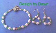 Dragonfly Green stone white pearl crystal wire bead earring set by doubledzbeadz. Explore more products on http://doubledzbeadz.etsy.com