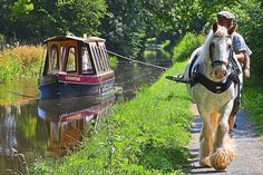 A horse-drawn narrow boat, Shropshire, England. Would love to do this