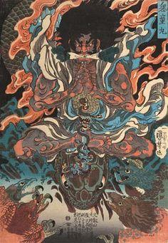 Utagawa Kuniyoshi Kidô Maru Learning Magic from the Tengu, ca. 1843 Japanese color woodblock print x cm Egenolf Gallery Japanese Prints (Burbank, CA) Japanese Artwork, Japanese Tattoo Art, Japanese Painting, Japanese Prints, Japanese Poster, Japan Illustration, Grand Art, Japanese Mythology, Kuniyoshi