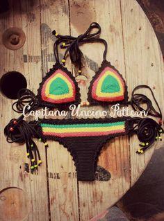 PDF, Crochet PATTERN for Rasta Queen Crochet Bikini Top and Brazilian Bottom, Cheeky, Sizes XS-L