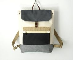 Unisex Ivory Canvas Backpack / Laptop bag / Leather by BagyBags, $98.70