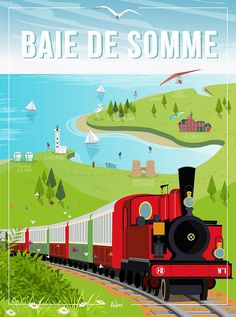 Somme Bay - the wall decoration poster Vintage Travel Posters, Poster Vintage, Images Vintage, All Poster, Illustration Art, Illustrations, Limited Edition Prints, Wall Collage, Old Things