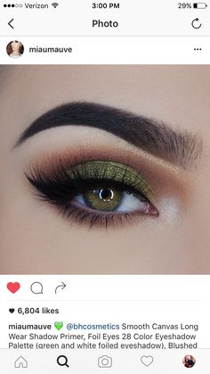 Olive green eyeshadow look makeup<< this could be good witch makeup