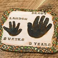 Sibling hand print impressions in clay with our signature texture border. Baby Hand And Foot Prints, Hand Prints, Baby Hands, Pottery Studio, Sibling, Footprint, Clay, Baby Shower, Texture