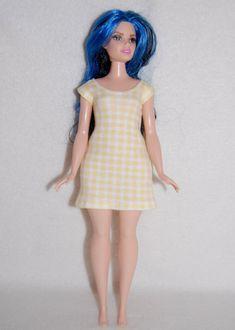 Yellow check Dress A4B110 Curvy Barbie fashionista fashion doll clothes