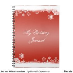 Red and White Snowflake Wedding Journal