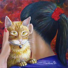 """peinture à l'huile sur toile 30x30 encadrée """"la vie de CHATeau"""""""