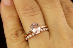 Alaina & Brooke Set - Morganite Engagement Ring and Diamond Wedding Band in Rose Gold, Oval Cut Solitaire, Single Shred Prong, Free Shipping by DiamondDoveJewelry on Etsy