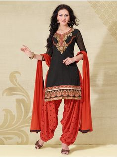 Black Cotton Suit With Print Work