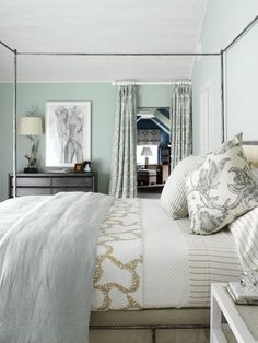 Ok, so our new bedroom has a wall that's seafoam green with silver, dulled metallic pattern on it. I am liking this room here with grey tones and even some brown to tone down the green. And I love the striped sheets. I saw similar ones at Target I think I'll get. beyond-our-walls