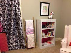 Granny's bookshelves & ladder for baby blankets