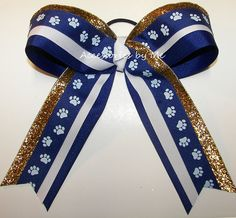 Paw Print Big Cheer Bow Blue White Gold Glitter by accessoriesbyme