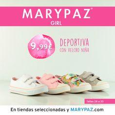 """MARYPAZ GIRL <3 <3   Descubre la colección """"mini"""" de MARYPAZ pensada para las más pequeñas de la casa :)  Disponibles en tiendas seleccionadas y en nuestra NUEVA WEB marypaz.com  ¡ DEPORTIVAS con velcro NIÑA 9,99 € !  #marypazgirl #girl #mustmini #minimarypaz   Descubre toda la Colección MARYPAZ GIRL aquí ► http://www.marypaz.com/girl.html"""