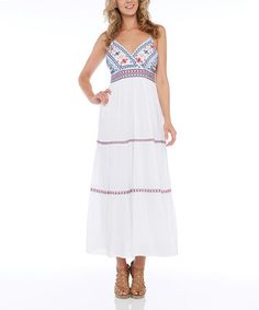 Loving this Whtie & Blue Embroidered Maxi Dress - Plus on #zulily! #zulilyfinds