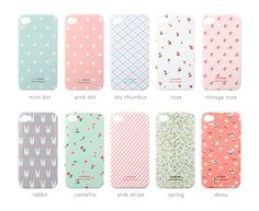 CUTE!!! Want those rabbit, mint dot, and pink dot cases!!! <3 || MochiThings.com: Rainbow Pattern 4/4S iPhone Case