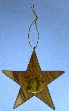Olive Wood Star Ornament Holy Land Praying Hands 5 Item