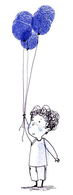Balloons! - Ella Okstad #kid #child #balloon #fingerprint #inktober #penandink #ink #blackandwhite #blueandwhite #monochrome #childrensbook #illustration #kidlit #kidlitart #kidlitartist #kidsbooks #booksforkids #raiseareader #sharestories #books #read #teaching #resources #learning #teacher #art #illustrator #bookstagram #instaart #draw #sketch #sketchbook