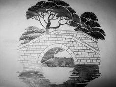 Drawing | Japanese style-ish | bridge | Trees