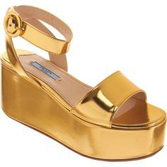 Prada Single Band Flatform Sandal ($299) ❤ liked on Polyvore featuring shoes, sandals, gold, flatform sandals, prada shoes, ankle strap sandals, wide sandals and ankle strap high heel sandals
