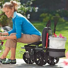 Rolling Scoot N Do Garden Seat and Pull Cart Garden Pinterest