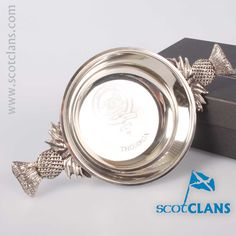 Thomson Clan Crest Quaich. Free worldwide shipping available.