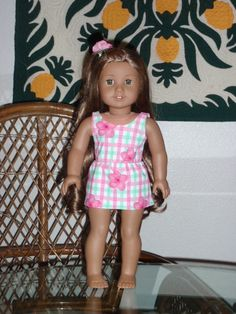 502caa12c1a11 Hawaiian Print Swimsuit and Cover Up Skirt for American Girl Kanani or other  18 inch doll