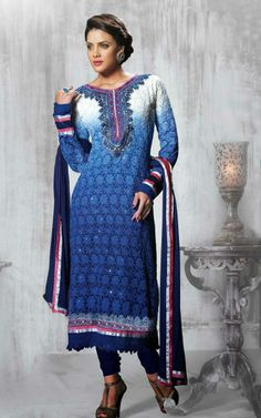 OFF WHITE & BLUE FAUX GEORGETTE SALWAR KAMEEZ - DIF 28862