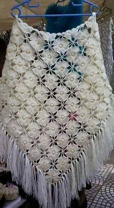 Beautiful white lacy crocheted shawl ...