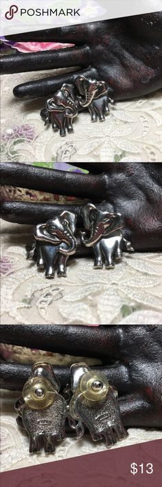"""2 for $20 - Vintage articulated elephant earrings Vintage silver tone articulated elephant earrings. From Avon. Head is separate so the body moves. Super cute! Measures 1.25"""" long and 1"""" wide. Pre-owned vintage: some wear/surface scratches. Vintage Jewelry Earrings"""